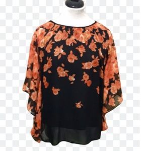 Rose & Olive Black and Peach Floral Batwing Tunic